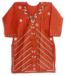 Dark Saffron Cotton Kurti with Kantha Stitch