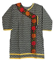 White Print on Black Achkan Style Kurti with Parsi Embroidery on Neckline and Border