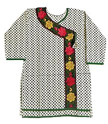 Black Print on White Achkan Style Kurti with Parsi Embroidery on Neckline and Border