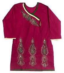 Red Achkan Style Kurti with Zari and Green Thread Embroidery on Neckline and Border