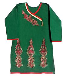 Dark Green Achkan Style Kurti with Zari Embroidery on Neckline and Border
