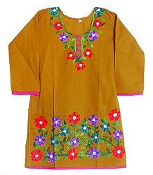 Chrome yellow Top with Floral Ari Embroidery on Neckline and Border