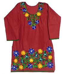 Dark Red Top with Floral Ari Embroidery on Neckline and Border