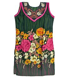 Multicolor Floral Print on Dark Green Sleeveless Top with Embroidered Neckline