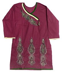 Maroon Achkan Style Kurti with Zari and Green Thread Embroidery on Neckline and Border