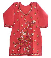 White and Green Kantha stitch on Red Kurti