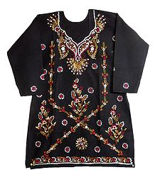 Kantha Stitch on Black Cotton Kurti