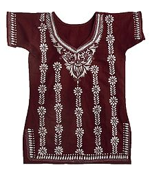 Kantha Stitch on Maroon Cotton Kurti