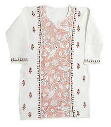 Kantha Stitch on White Cotton Kurti