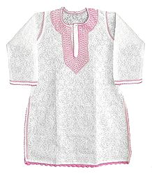 Embroidered White Kurti