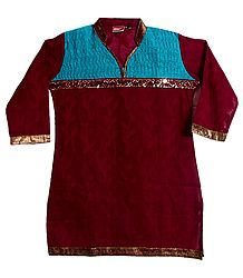 Embroidered Maroon Cotton Short Kurta