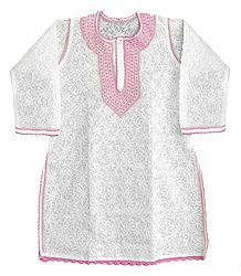 Embroidered White Kurti