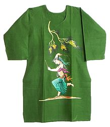 Hand Painted Green Kurta with 3 Quarter Sleeves