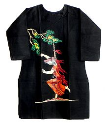Hand Painted Black Kurta with Three Quarter Sleeves