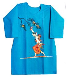 Hand Painted Dark Cyan Blue Kurta with Three Quarter Sleeves