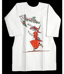 Hand Painted White Kurta with Three Quarter Sleeves