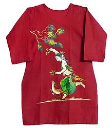 Shop Online Hand Painted Red Kurta