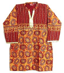 Maroon and Saffron Print Short Kurta