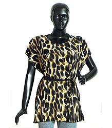 Leopard Skin Print Synthetic Kaftan Top
