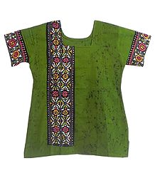 Green and Black Batik Painted Kurta with Kantha Stitch Embroidery
