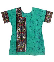 Cyan Blue and Black Batik Painted Kurta with Kantha Stitch Embroidery