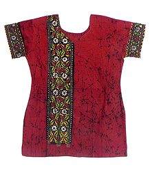 Red Batik Kurta with Kantha Embroidery