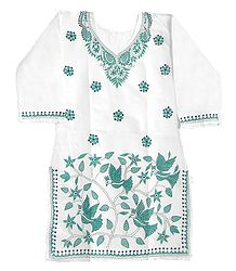 Cyan Blue Kantha stitch on White Kurti