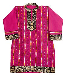 Kantha Stitch on Magenta Kurta