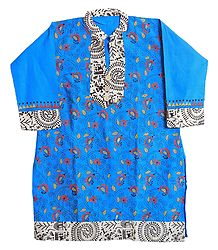 Kantha Stitch on Blue Kurta