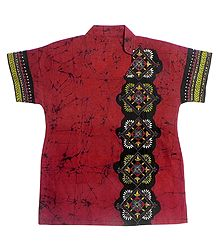 Red Batik Kurta with Kantha Stitch