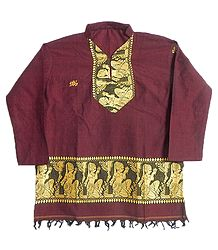 Maroon Kurti with Baluchari Design