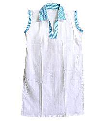 White Kurta with Blue Striped Collar