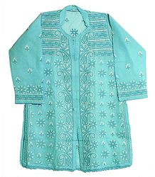 Light Blue Cotton Kurti with Embroidery