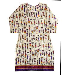 Women Print on Off-White Cotton Kurta