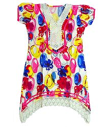 Multicolor Print on White Top with Net Border and Sleeves