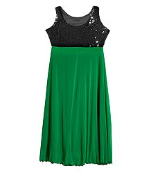 Green Lycra with Black Sequin Work Gown