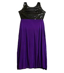 Purple Lycra with Black Sequin Work Gown