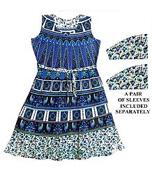 Blue and Cyan Sanganeri Print Dress with a Pair of Additional Unstitched Sleeves