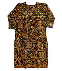 Worli Print on Black Kurta