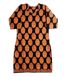 Printed Buddha Face on Black Cotton Kurta