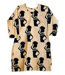 Printed African Lady on Light Beige Cotton Kurta