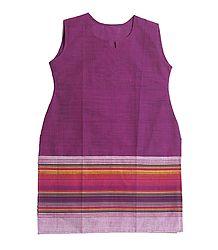 Purple Kurta with Striped Border