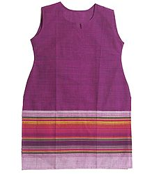 Purple Kurta with Striped Border