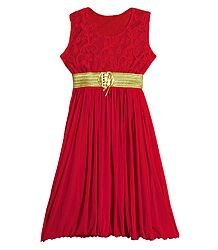 Buy Red Lycra with Red Laced Gown