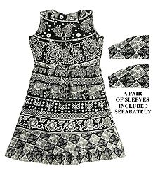 Black and White Sanganeri Print Dress with a Pair of Additional Unstitched Sleeves