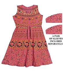 Sanganeri Print on Red Dress with a Pair of Additional Unstitched Sleeves