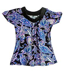 Blue, Pink and White Print on Black Top