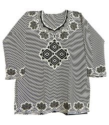 Black Print on White Synthetic Top