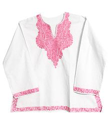 White Short Kurta with Dark and Light Pink Embroidery