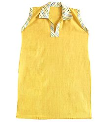 Yellow Kurta with Multicolor Sriped Collar